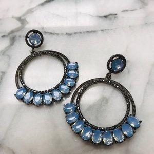 Hematite & Blue Opal Crystal Gunmetal Hoops,NWT